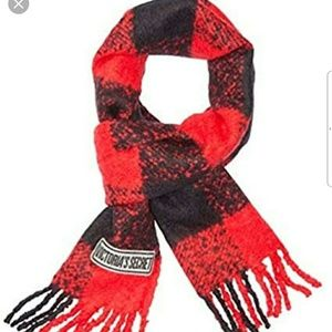 VS PINK RED PLAID CAMPUS WINTER SCARF